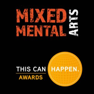 """Logos for Mixed Mental Arts alongside logo for the """"This Can Happen"""" award"""